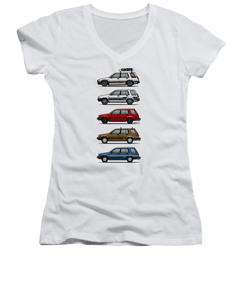 Stack Of Toyota Tercel Sr5 4wd Al25 Wagons Women's V-Neck T-Shirt (Junior Cut) by Monkey Crisis On Mars