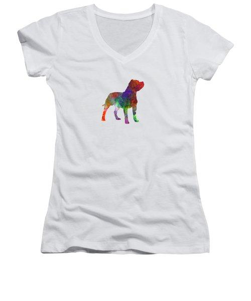 Staffordshire Bull Terrier In Watercolor Women's V-Neck T-Shirt (Junior Cut) by Pablo Romero