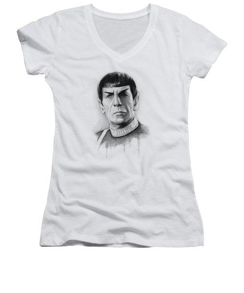 Star Trek Spock Portrait Women's V-Neck T-Shirt (Junior Cut) by Olga Shvartsur