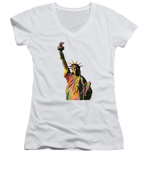 Statue Of Liberty Women's V-Neck T-Shirt (Junior Cut) by Marlene Watson