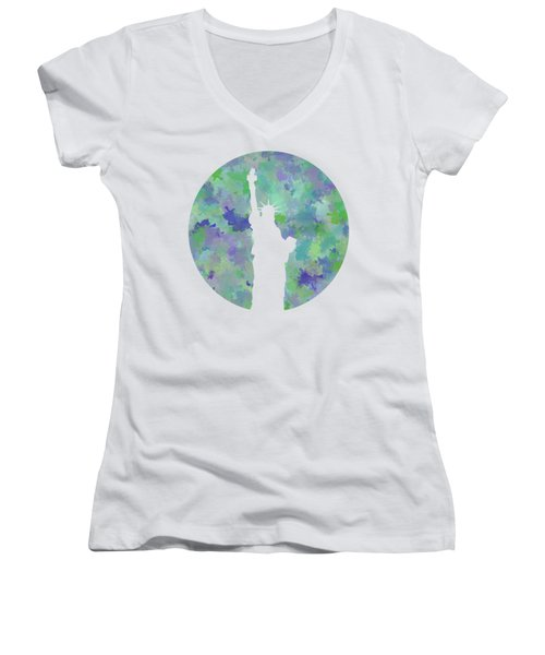 Statue Of Liberty Silhouette Women's V-Neck T-Shirt (Junior Cut) by Phil Perkins