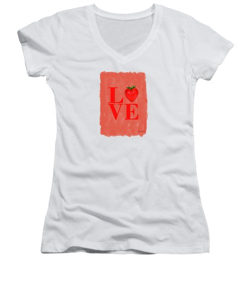 Strawberry Women's V-Neck T-Shirt (Junior Cut) by Mark Rogan