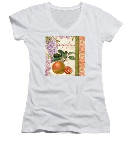 Summer Citrus Grapefruit Women's V-Neck T-Shirt (Junior Cut) by Mindy Sommers