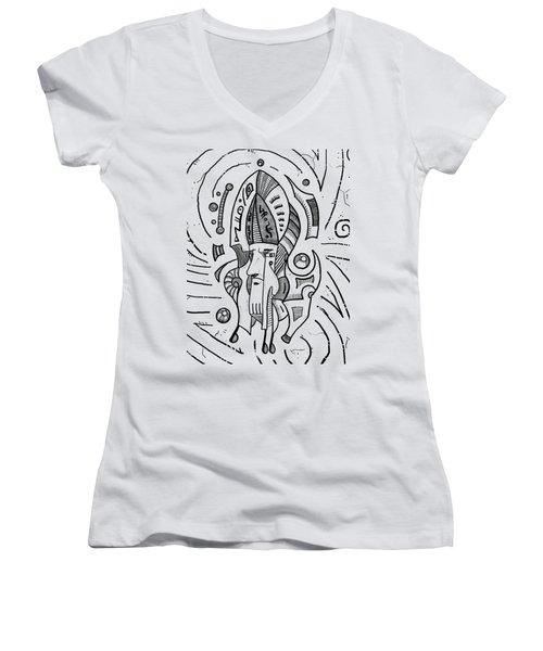 Surrealist Head Women's V-Neck T-Shirt (Junior Cut) by Erki Schotter