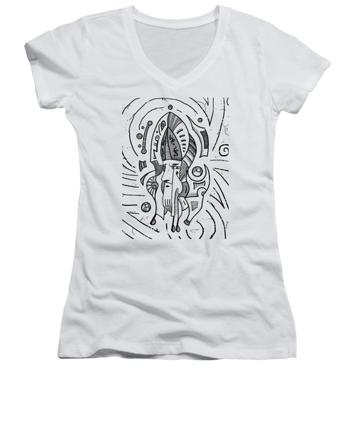 Surrealist Head Women's V-Neck T-Shirt (Junior Cut) by Sotuland Art