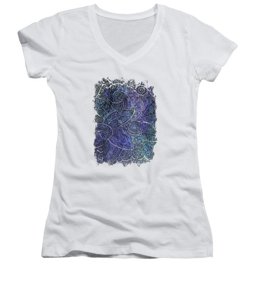 Swan Dance Berry Blues 3 Dimensional Women's V-Neck T-Shirt (Junior Cut) by Di Designs