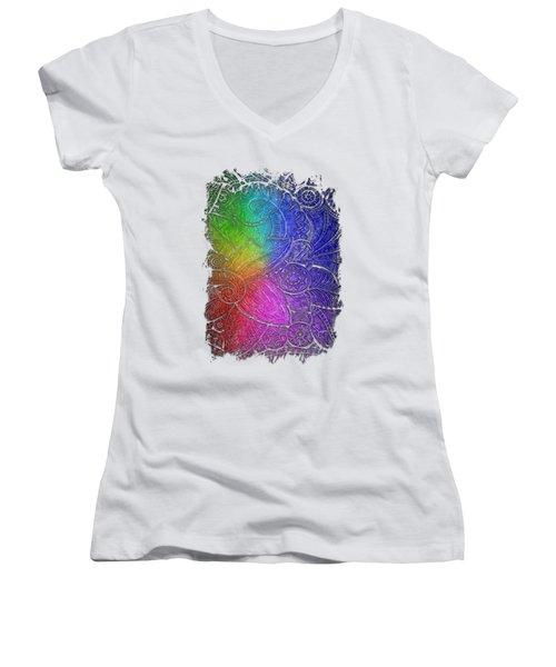 Swan Dance Cool Rainbow 3 Dimensional Women's V-Neck T-Shirt (Junior Cut) by Di Designs