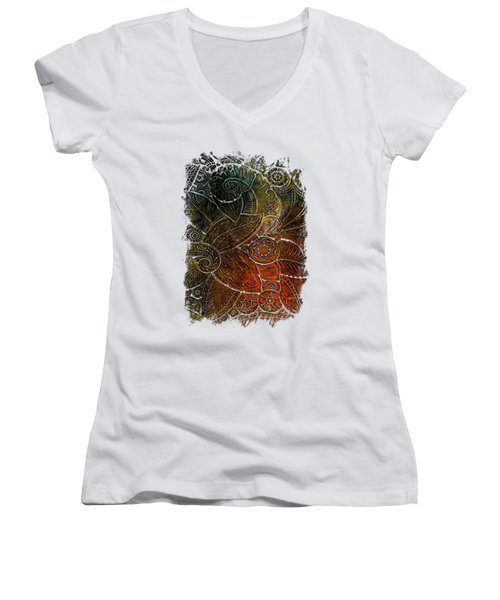 Swan Dance Earthy Rainbow 3 Dimensional Women's V-Neck T-Shirt (Junior Cut) by Di Designs