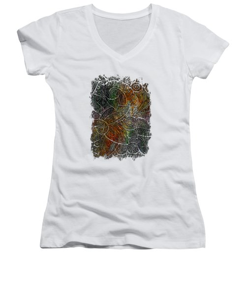 Swan Dance Muted Rainbow 3 Dimensional Women's V-Neck T-Shirt (Junior Cut) by Di Designs