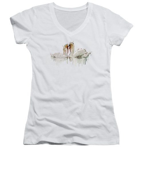 Swan Love Acrylic Painting Women's V-Neck T-Shirt (Junior Cut) by Georgeta Blanaru
