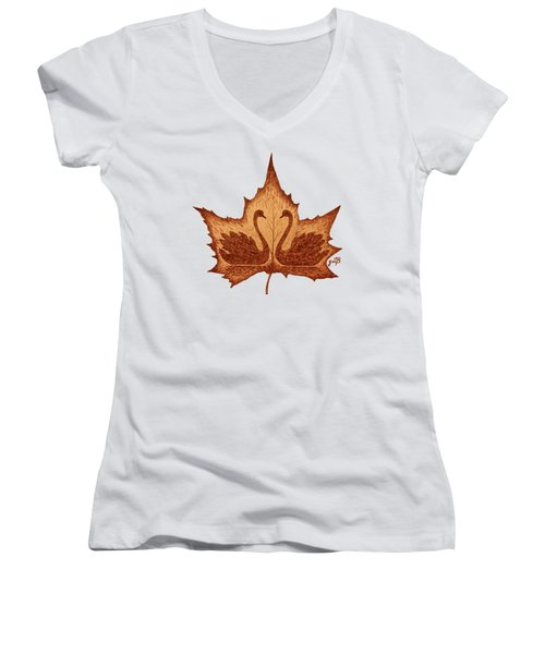 Swans Love On Maple Leaf Original Coffee Painting Women's V-Neck T-Shirt (Junior Cut) by Georgeta Blanaru