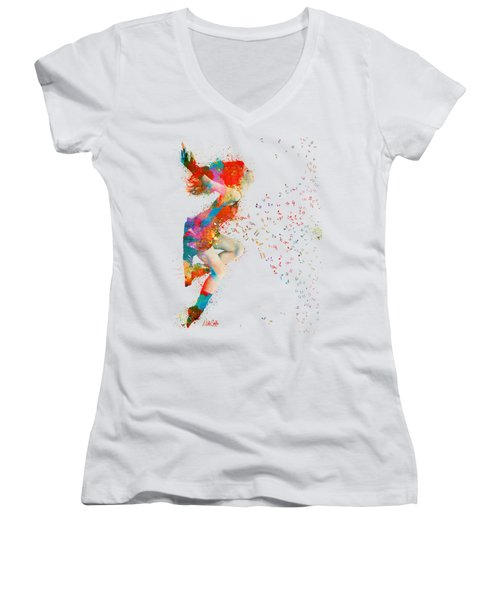 Sweet Jenny Bursting With Music Women's V-Neck T-Shirt (Junior Cut) by Nikki Smith