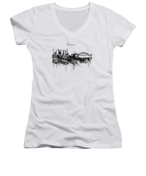 Sydney Black And White Watercolor Skyline Women's V-Neck T-Shirt (Junior Cut) by Marian Voicu