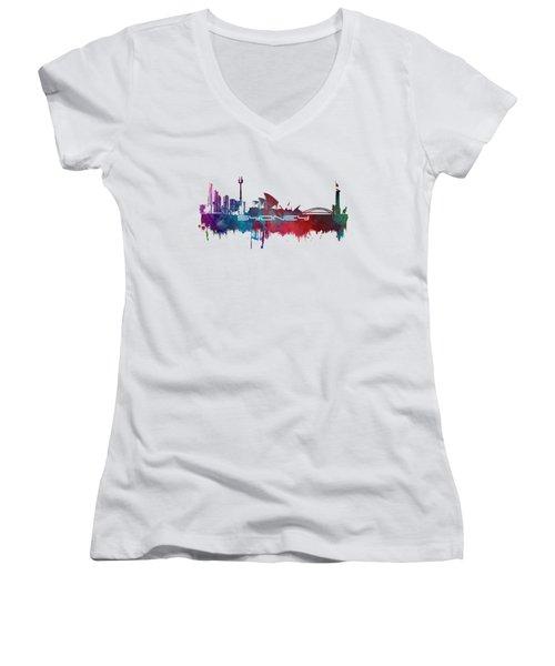 Sydney Skyline City Blue Women's V-Neck T-Shirt (Junior Cut) by Justyna JBJart