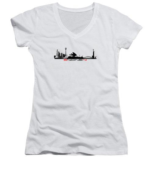Sydney Skyline Women's V-Neck T-Shirt (Junior Cut) by Justyna JBJart