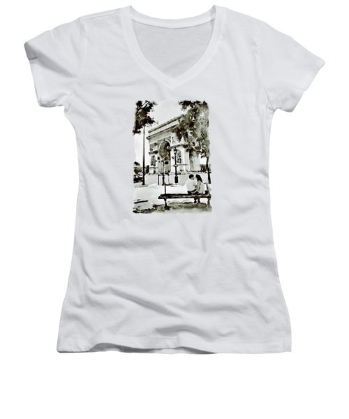 The Arc De Triomphe Paris Black And White Women's V-Neck T-Shirt (Junior Cut) by Marian Voicu