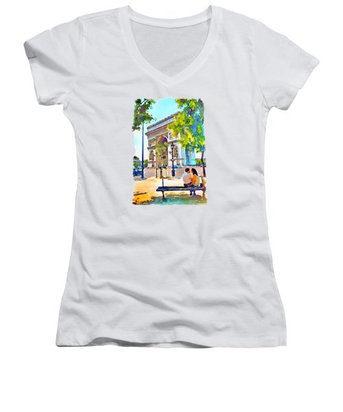 The Arc De Triomphe Paris Women's V-Neck T-Shirt (Junior Cut) by Marian Voicu