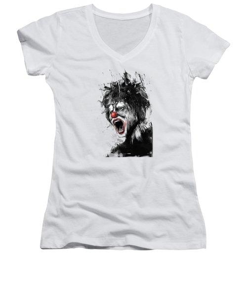 The Clown Women's V-Neck T-Shirt (Junior Cut) by Balazs Solti