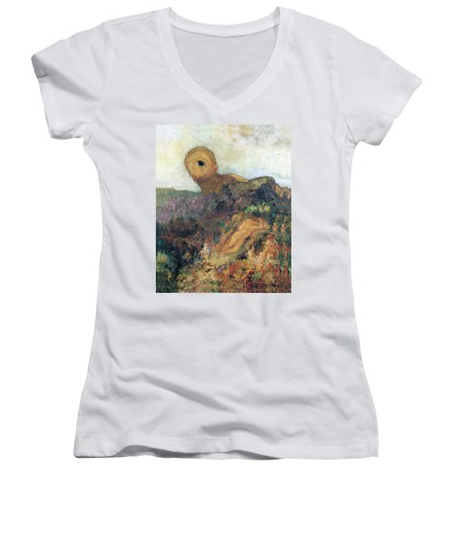 The Cyclops Women's V-Neck T-Shirt (Junior Cut) by Odilon Redon