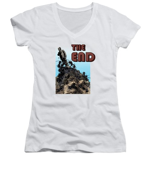 The End Women's V-Neck T-Shirt (Junior Cut) by Joseph Juvenal