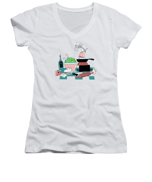 The Hungry Mouse Women's V-Neck T-Shirt (Junior Cut) by Little Bunny Sunshine