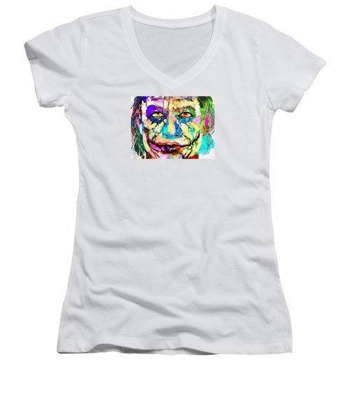 The Joker Grunge Women's V-Neck T-Shirt (Junior Cut) by Daniel Janda