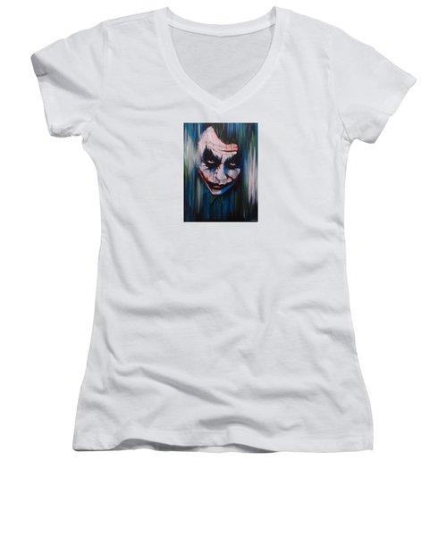 The Joker Women's V-Neck T-Shirt (Junior Cut) by Michael Walden