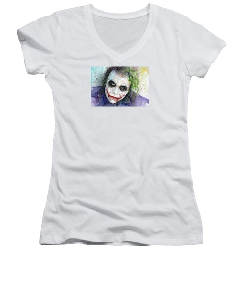 The Joker Watercolor Women's V-Neck T-Shirt (Junior Cut) by Olga Shvartsur