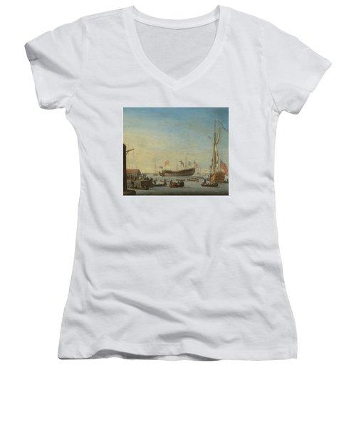 The Launch Of A Man Of War Women's V-Neck T-Shirt (Junior Cut) by Robert Woodcock