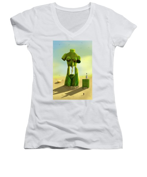 The Nightstand 2 Women's V-Neck T-Shirt (Junior Cut) by Mike McGlothlen