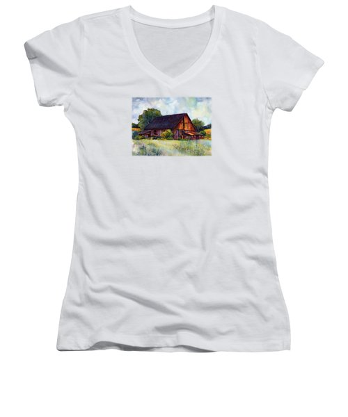 This Old Barn Women's V-Neck T-Shirt (Junior Cut) by Hailey E Herrera