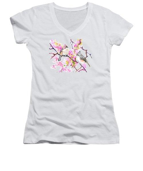 Titmice And Cheery Blossom Women's V-Neck T-Shirt (Junior Cut) by Suren Nersisyan