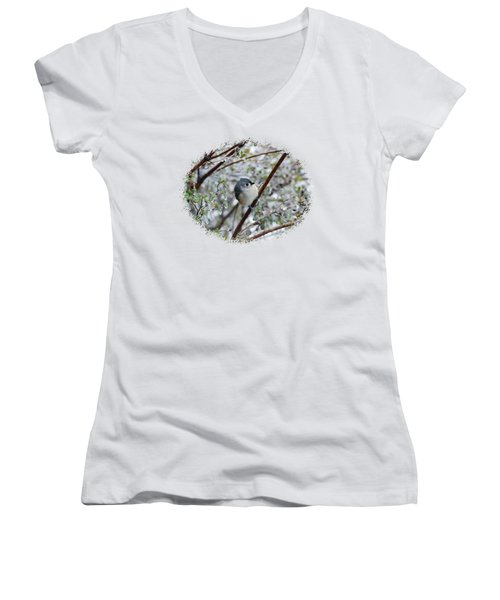 Titmouse On Snowy Branch Women's V-Neck T-Shirt (Junior Cut) by Larry Bishop
