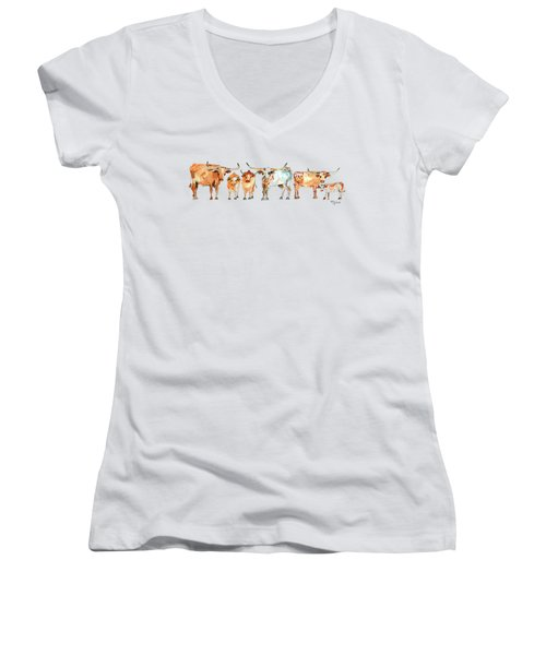 Together We Stand Watercolor Painting By Kmcelwaien Women's V-Neck T-Shirt (Junior Cut) by Kathleen McElwaine