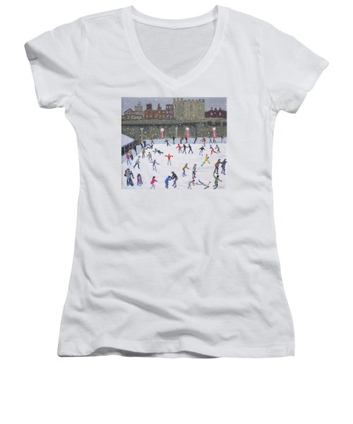 Tower Of London Ice Rink Women's V-Neck T-Shirt (Junior Cut) by Andrew Macara