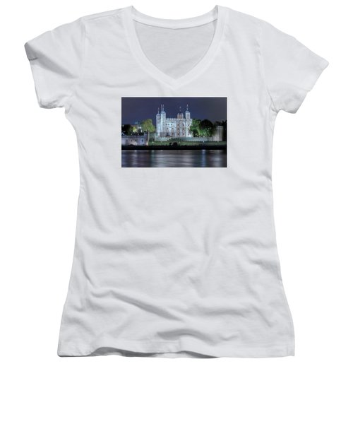 Tower Of London Women's V-Neck T-Shirt (Junior Cut) by Joana Kruse