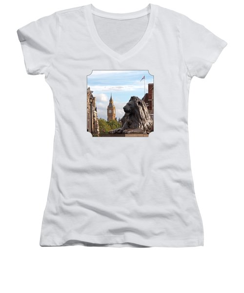 Trafalgar Square Lion With Big Ben Women's V-Neck T-Shirt (Junior Cut) by Gill Billington