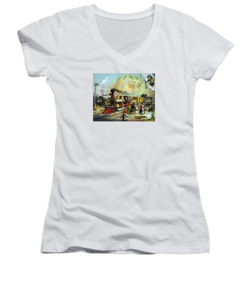 Transcontinental Railroad Women's V-Neck T-Shirt (Junior Cut) by War Is Hell Store