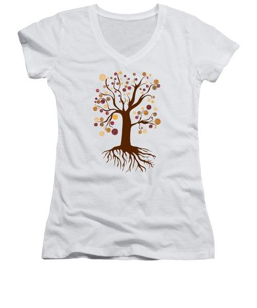 Tree Women's V-Neck T-Shirt (Junior Cut) by Frank Tschakert