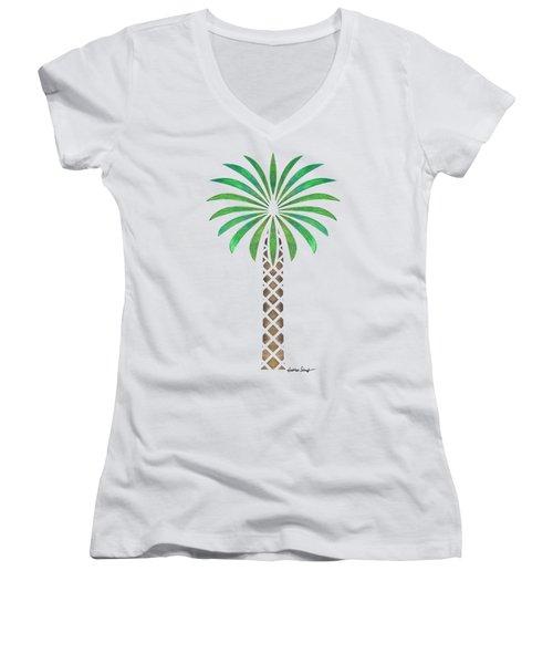Tribal Canary Date Palm Women's V-Neck T-Shirt (Junior Cut) by Heather Schaefer