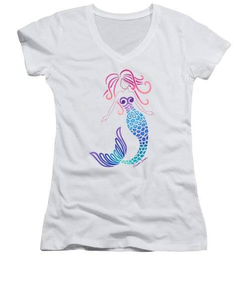 Tribal Mermaid Women's V-Neck T-Shirt (Junior Cut) by Heather Schaefer