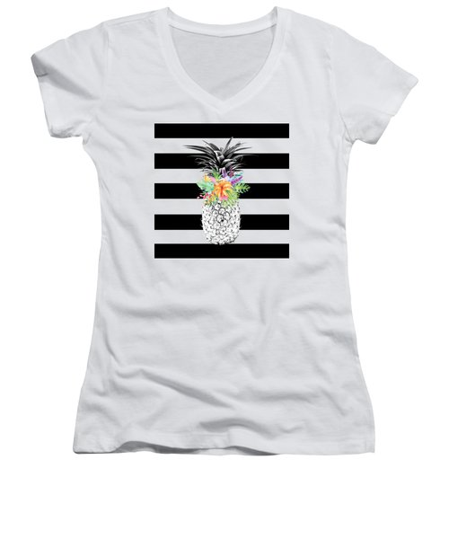 Tropical Flower Pineapple Black And White Stripes Women's V-Neck T-Shirt (Junior Cut) by Dushi Designs