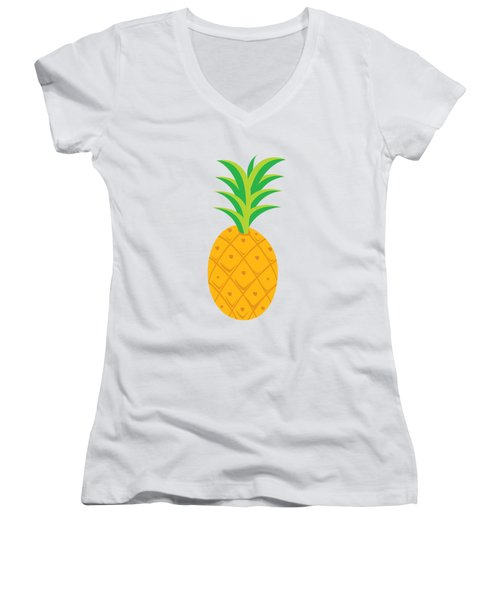 Tropical Fruits Ananas Pineapple Women's V-Neck T-Shirt (Junior Cut) by MGdezigns
