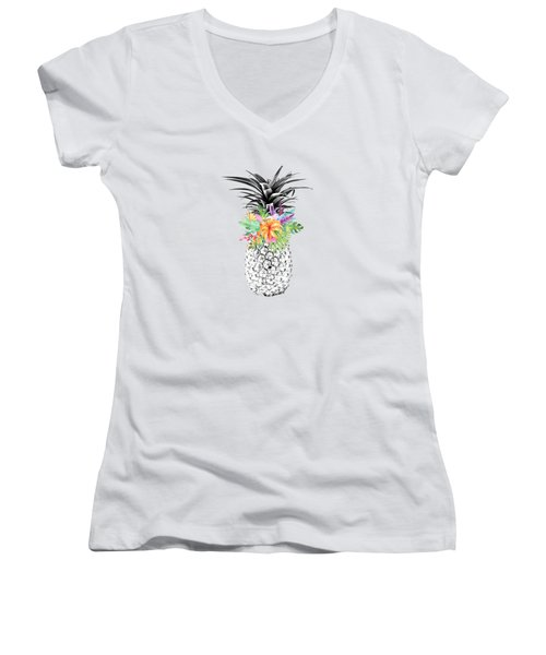 Tropical Pineapple Flowers Aqua Women's V-Neck T-Shirt (Junior Cut) by Dushi Designs
