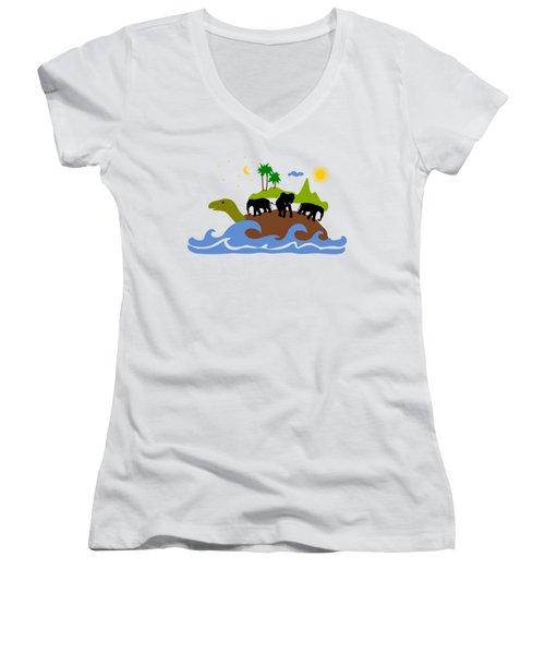 Turtles All The Way Down Women's V-Neck T-Shirt (Junior Cut) by Anastasiya Malakhova