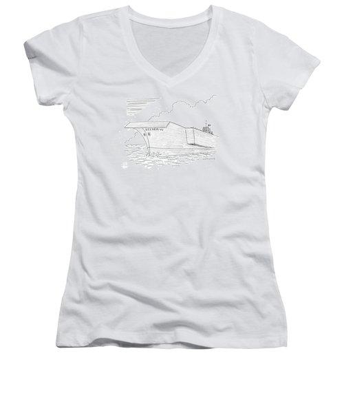 U.s.s. Deja Vu Women's V-Neck T-Shirt (Junior Cut) by Mick Stevens