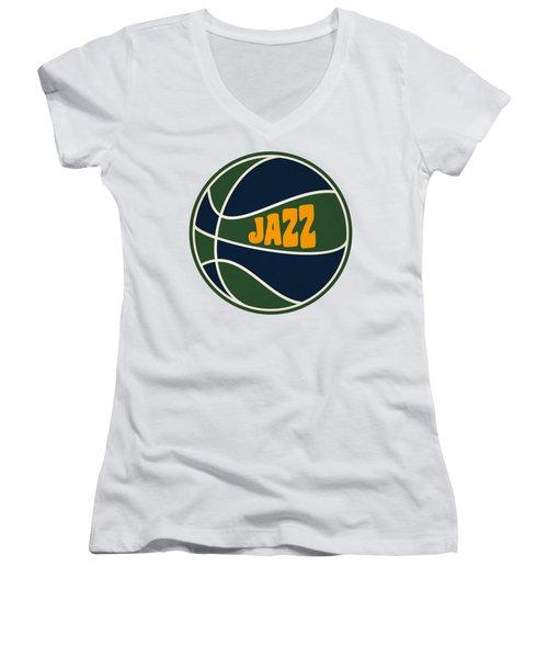 Utah Jazz Retro Shirt Women's V-Neck T-Shirt (Junior Cut) by Joe Hamilton
