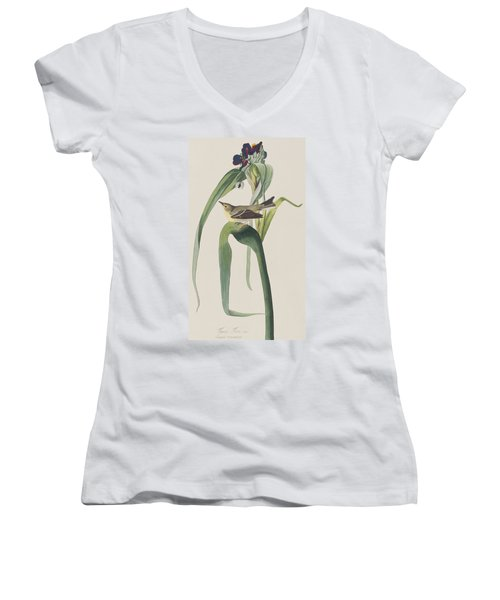 Vigor's Warbler Women's V-Neck T-Shirt (Junior Cut) by John James Audubon