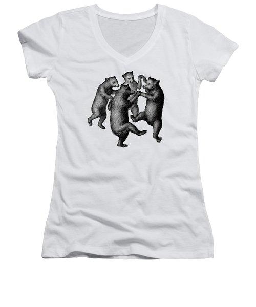 Vintage Dancing Bears Women's V-Neck T-Shirt (Junior Cut) by Edward Fielding