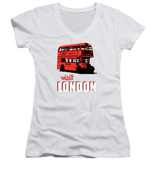 Visit London Tee Women's V-Neck T-Shirt (Junior Cut) by Edward Fielding